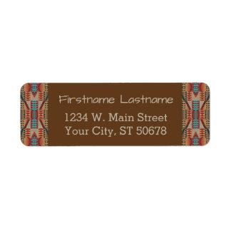 Rustic Native American Indian Cabin Mosaic Pattern Return Address Label