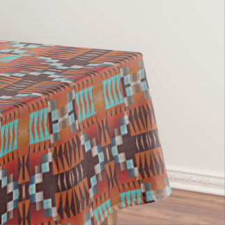 Rustic Native American Indian Cabin Mosaic Pattern Tablecloth