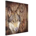 rustic native indian dream catcher wild wolf canvas prints