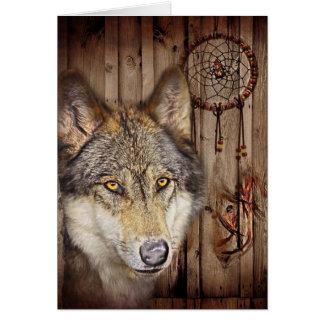 rustic native indian dream catcher wild wolf greeting card