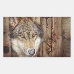 rustic native indian dream catcher wild wolf rectangular sticker