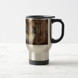 rustic native indian dream catcher wild wolf travel mug