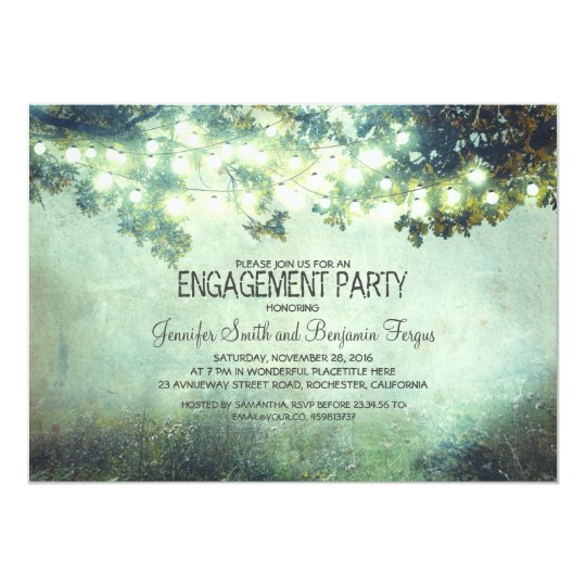 rustic nature tree branch lights engagement party card
