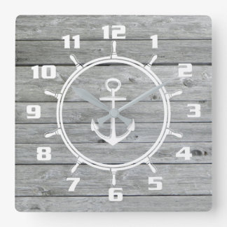 Rustic Nautical Anchor and Ship wheel On Old Wood Square Wall Clock