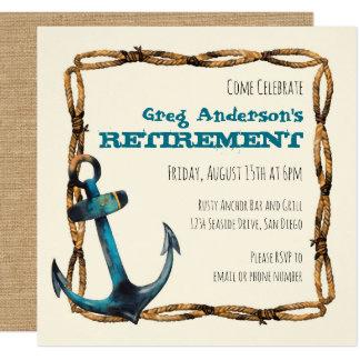 Rustic Nautical Anchor Retirement 13 Cm X 13 Cm Square Invitation Card