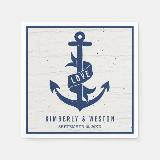 Rustic Nautical Anchor Wedding Napkins / Navy Disposable Napkin