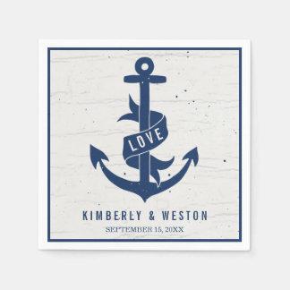 Rustic Nautical Anchor Wedding Napkins / Navy Paper Serviettes