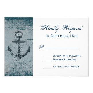 Rustic Nautical Anchor Wedding RSVP Cards