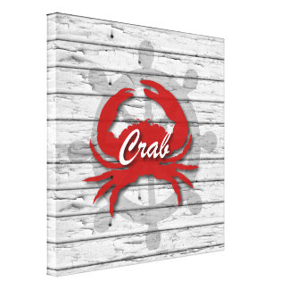 Rustic Nautical Crab On Peeling Gray Wood | Print Stretched Canvas Print
