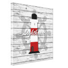 Rustic Nautical Lighthouse On Weathered Grey Wood Canvas Print