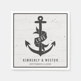 Rustic Nautical Personalized Wedding Napkins Disposable Napkins
