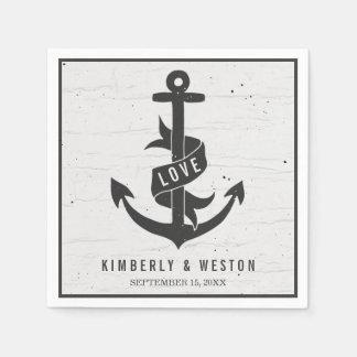 Rustic Nautical Personalized Wedding Napkins Disposable Serviette