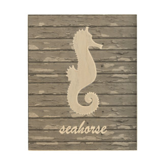 Rustic Nautical Seahorse On Peeling Wood | Print