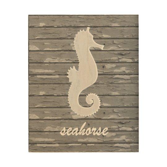Rustic Nautical Seahorse On Peeling Wood | Print