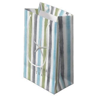 Rustic nautical watercolor stripes thanks monogram small gift bag
