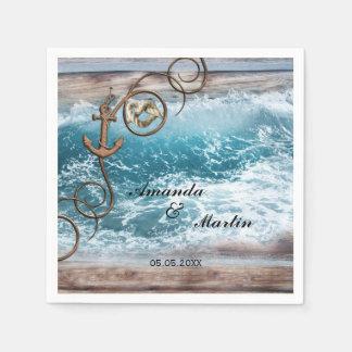 Rustic Nautical Wedding Paper Napkins Disposable Serviette