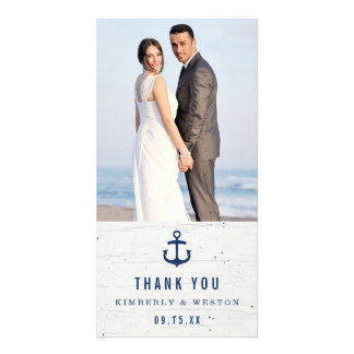 Rustic Nautical Wedding Thank You Card / Navy