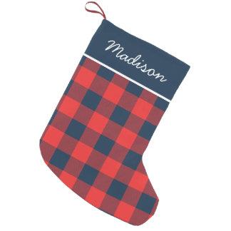 Rustic Navy and Red Buffalo Check Monogram Small Christmas Stocking