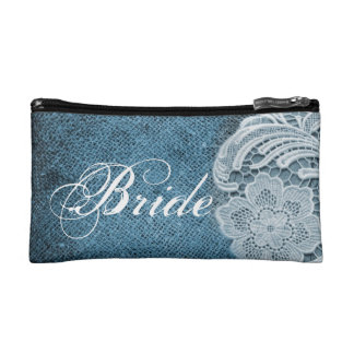 rustic navy blue burlap lace country bride cosmetic bags
