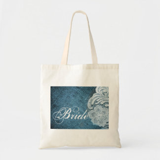 rustic navy blue burlap lace country bride budget tote bag
