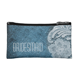 rustic navy blue burlap lace country bridesmaid makeup bags