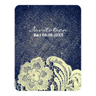 """rustic navy blue burlap lace country wedding 4.25"""" x 5.5"""" invitation card"""