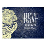 rustic navy blue burlap lace country wedding RSVP
