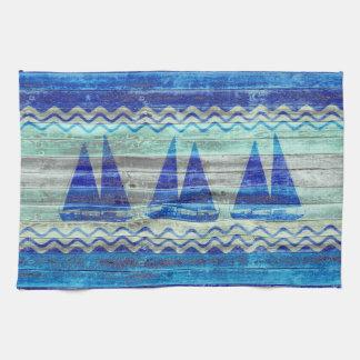 Rustic Navy Blue Coastal Decor Sailboats Tea Towel