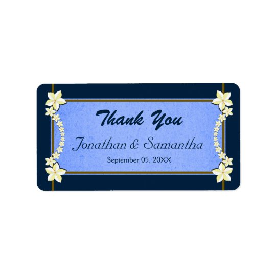 Rustic & Navy Blue Floral Wedding Favour Thank You Address Label