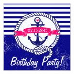 "Rustic Navy Blue Nautical Birthday Invitation 5.25"" Square Invitation Card"