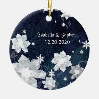 Rustic Navy Blue Snowy Winter Wedding Keepsake Christmas Ornament