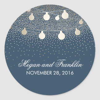 Rustic Navy String Lights Gold Glitter Wedding Round Sticker