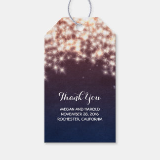 Rustic Navy String Lights Weding Gift Tags