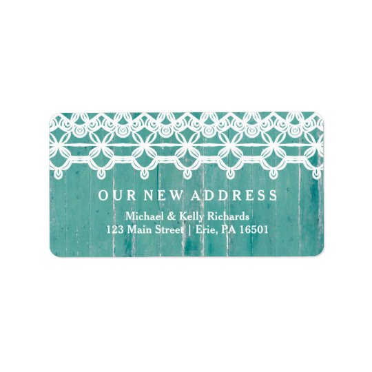 Rustic New Address Teal Wood Look with White Lace Label