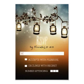 rustic night lights - lanterns wedding RSVP cards