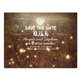 rustic night lights save the date postcards
