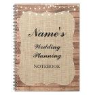 Rustic Notebook Wedding Planning Burlap Notes