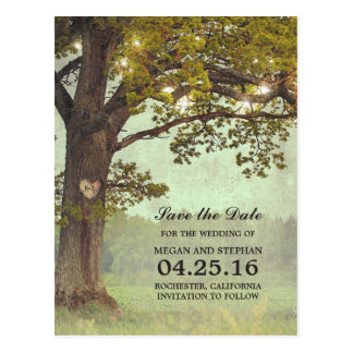 Rustic Oak Tree and String Lights Save the Date Postcard