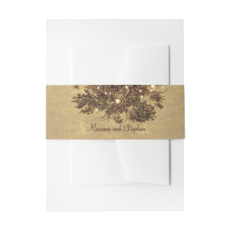 Rustic oak tree branches string lights wedding invitation belly band
