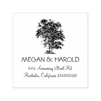 Rustic Oak Tree Heart Wedding Self-inking Stamp