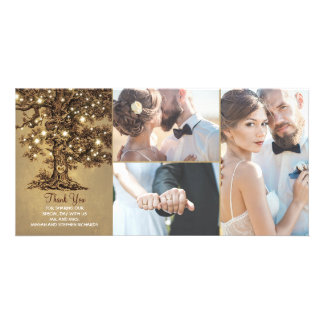 Rustic Oak Tree Lights Wedding Thank You Card