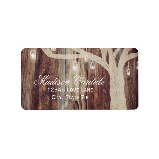 Rustic Oak Tree Lights Wood Wedding Address Labels