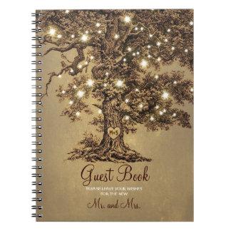 Rustic Oak Tree String Lights Wedding Guest Book Spiral Notebooks