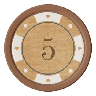 Rustic Oak Wood Casino Style Poker Chips