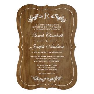 Rustic Oak Wood Formal Monogram Wedding Invitation