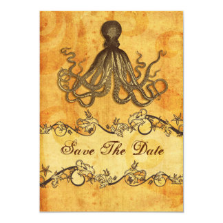 rustic octopus beach wedding save the date card