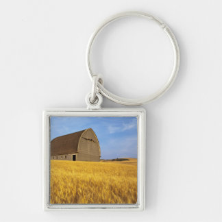 Rustic old barn in mature wheat field in the 2 Silver-Colored square key ring