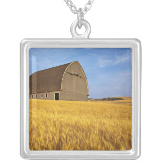 Rustic old barn in mature wheat field in the 2 silver plated necklace