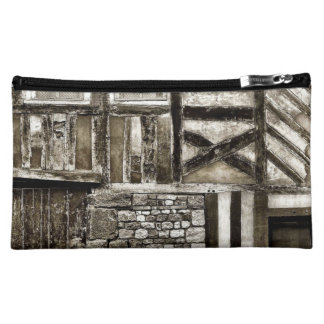 Rustic Old Country Wood and Stone Building Makeup Bags