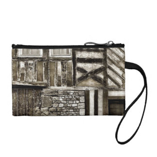 Rustic Old Country Wood and Stone Building Coin Wallets